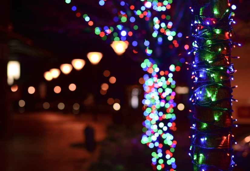 illuminated christmas lights at night