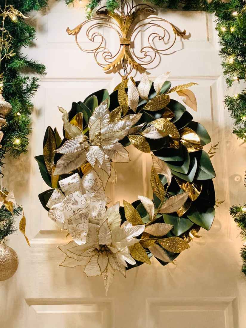 white and green leave wreath